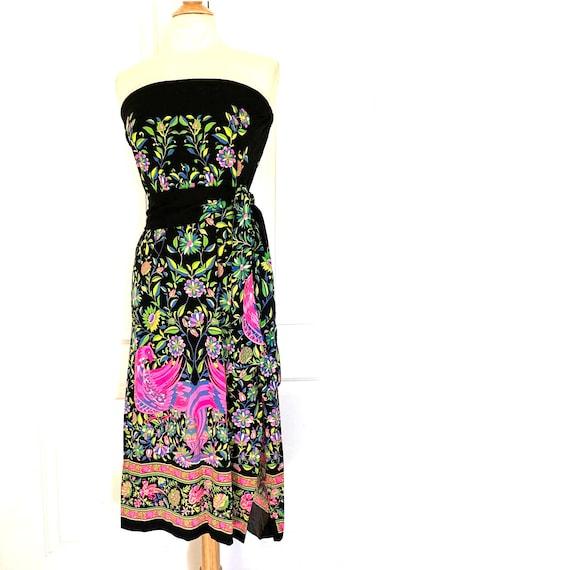 MR DINO Vintage 70's PEACOCK Maxi Skirt / Dress