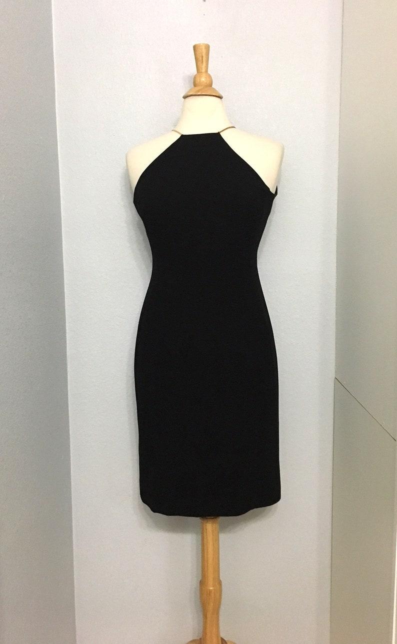 d18e54f43fd5 Vintage 90s Little Black Dress With Gold Tone Straps / Jones | Etsy