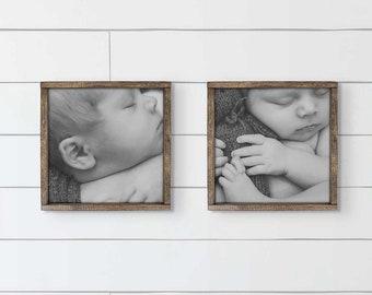 Custom Photo Sign 12x12   Custom Framed Photo, Farmhouse Framed Photos, Farmhouse Photo Art, Wedding Gift, Housewarming Gift, Family Photos