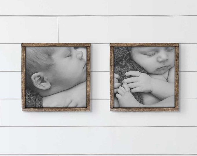 Featured listing image: Custom Photo Sign 12x12   Custom Framed Photo, Farmhouse Framed Photos, Farmhouse Photo Art, Wedding Gift, Housewarming Gift, Family Photos