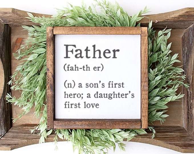 Featured listing image: Father Definition Wall Sign, Father's Day Sign, Dad Sign, Gifts for Dad, Fathers Day Gift, Fathers Day Gifts, Dad Gifts, New Dad Gift