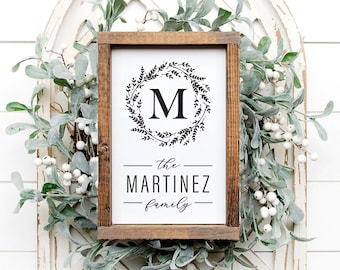 Farmhouse Wreath Custom Name Sign, Family Name Sign, Monogram Sign, Housewarming Gift, Christmas Gift, Family Gift, Custom Name Welcome Sign
