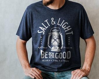 Salt and Light Christian Shirt | Mens Christian Shirt, Mens Christian Gifts, Bible Shirt, Mens Bible Study Shirt, Youth Group Shirt,