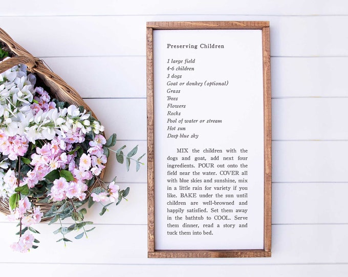 Featured listing image: Sm Preserving Children Recipe | Playroom Sign, Kitchen Sign, Nursery Sign, Kids Room Sign, Family Sign, Family Recipe Sign, Love Recipe Sign