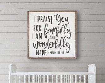 "Nursery Wall Sign ""Wonderfully Made"" Lrg-Kids Wall Decor, Kids Room Art, Christian Sign, Fixer Upper Wall Decor, Bible Verse Sign, Farmhouse"