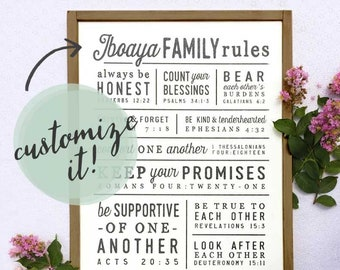 Custom Family Rules Sign, Family Name Sign, House Rules Sign, Bible Rules Sign, Farmhouse Rules Sign, Christian Rules Sign, Housewarming