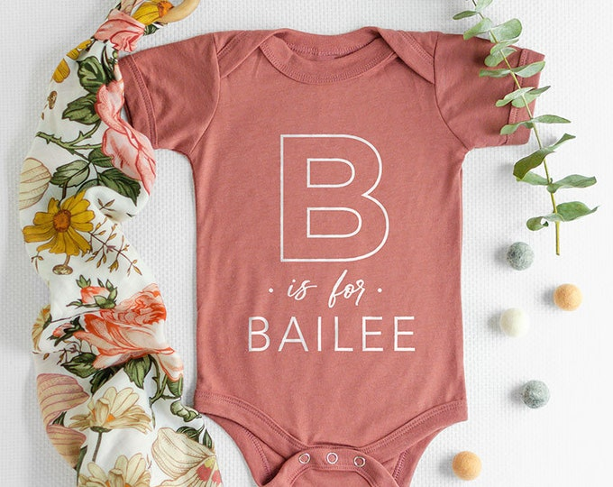 Featured listing image: Alphabet Name Baby Onesie®, Cute Baby Clothes, Baby Shower Gift, Alphabet Name Baby Onesie®, Baby Gifts, Baby Onesie®, Monogram Baby Onesie®