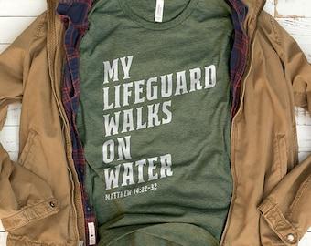 My Lifeguard Walks on Water Shirt | Mens Christian Shirt, Mens Christian Gifts, Bible Shirt, Mens Bible Study Shirt, Youth Group Shirt