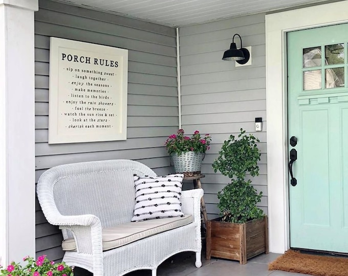 Featured listing image: Lg, Porch Rules Sign, Porch Decor, Porch Wall Sign, Porch Rules, Farmhouse Porch Sign, Farmhouse Porch Wall Decor, Porch Decor, Fixer Upper