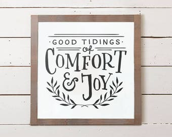 Christmas Wall Sign | Good Tidings of Comfort and Joy, Fixer Upper Christmas Sign, Farmhouse Christmas Sign, Christmas Decor, Christmas Gift