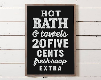 Vintage Bath Wall Sign | Bathroom Sign, Modern Farmhouse Sign, Vintage Bathroom Decor, Wood Sign with Saying, Bath Sign, Vintage Signage