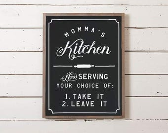 Momma's Kitchen Sign | Southern Decor, Southern Saying, Dinner Choices Sign, Menu Sign, Funny Sign, Kitchen Sign, Southernism Sign,