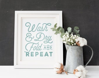 "Laundry Room Art Print | ""Wash, Dry, Fold, Repeat"" 