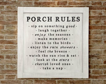 Sm, Porch Rules Sign, Porch Decor, Porch Wall Sign, Porch Rules, Farmhouse Porch Sign, Farmhouse Porch Wall Decor, Porch Decor, Fixer Upper