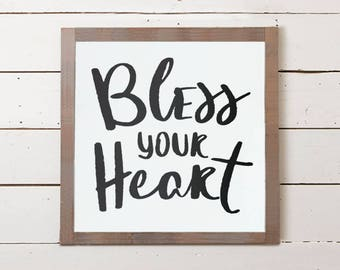 Bless Your Heart Small Wall Sign | Cute Signs, Signs with Sayings, Farmhouse Decor, Farmhouse Wall Art, Farmhouse Signs, Southern Sayings