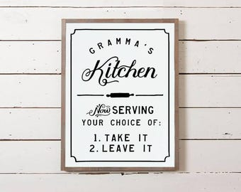Gramma's Kitchen Sign | Southern Decor, Southern Saying, Dinner Choices Sign, Menu Sign, Funny Sign, Kitchen Sign, Southernism Sign,