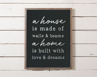 Home Sign, Home is Built of Love and Dreams sign, Home Sweet Home Sign, Housewarming Gifts, Wedding Gifts, Family Sign, Fixer Upper Signs