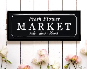Flower Market Wall Sign, Spring Wall Decor, Fixer Upper Flower Sign, Market Sign, Cottage Sign, Wood Sign, Modern Farmhouse, Joanna Gaines