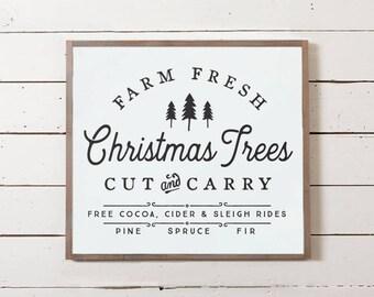 Farm Fresh Christmas Trees Sign, Christmas Tree Sign, Large Christmas Sign, Fixer Upper Christmas Sign, Silo Christmas Sign, Farmhouse
