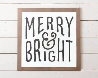 Merry and Bright Christmas Wall Sign | Christmas Sign, Christmas Gift, Christmas Decor, Christmas Wall Decor, Farmhouse Christmas Decor
