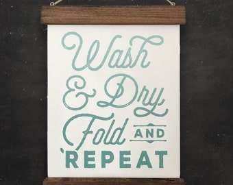 "Laundry Room Wall Decor | ""Wash, Dry, Fold, Repeat"" | Farmhouse Wall Decor, Fixer Upper Wall Decor, Modern Farm Decor, Housewarming Gift"