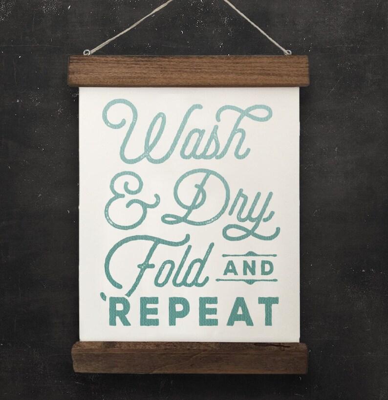 Laundry Room Wall Decor Wash Dry Fold Repeat Etsy
