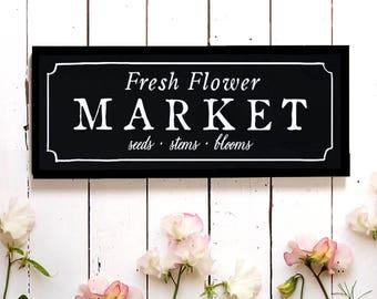 Flower Market Wall Sign, Spring Wall Decor, Fixer Upper Flower Sign, Market Sign, Cottage Sign, Wood Sign, Modern Farmhouse, Modern Farm