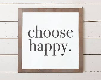 Modern Wall Sign | Choose Happy Sign, Modern Wall Decor, Modern Farmhouse, Bedroom Sign, Fixer Upper Sign, Office Sign, Office Decor