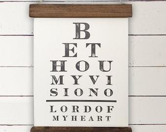 "Vintage Eye Chart Wall Decor | ""Be Thou My Vision"" | Modern Farmhouse Wall Hanging, Fixer Upper Wall Decor, Modern Farm Decor, Christian"