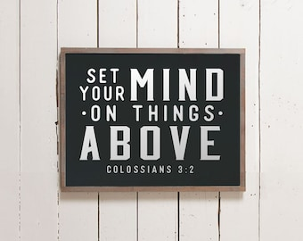 Set Your Mind on Things Above Sign, Scripture Sign, Bible Signs, Wall Signs, Fathers Day Gift, Boys Room, Boys Room Decor, Office Sign
