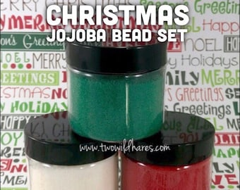 CHRISTMAS JOJOBA BEAD Set, Red, Green, White, 20/40 Exfoliant Safe Alternative to Microbeads for Bath Products, 3 oz total