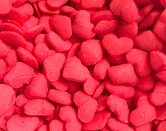 Red Hearts, Sprinkles Decor for Bath Bombs, Soap, Etc, 2 oz