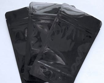 100-BLACK/CLEAR Foil Stand Up Pouches, 3 Sizes, Heavy Duty 5.4mil, Tear Notch, Zipper Seal, Impulse Sealable