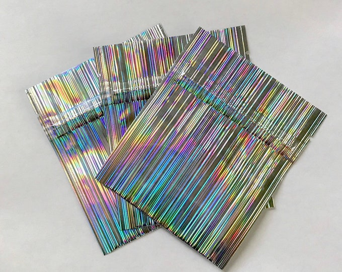 """50- 3.4""""x4"""" Holographic Mini Pouch, Mylar Sample Bags, Zipper Seal, Fold Over Bottom, Two Wild Hares"""