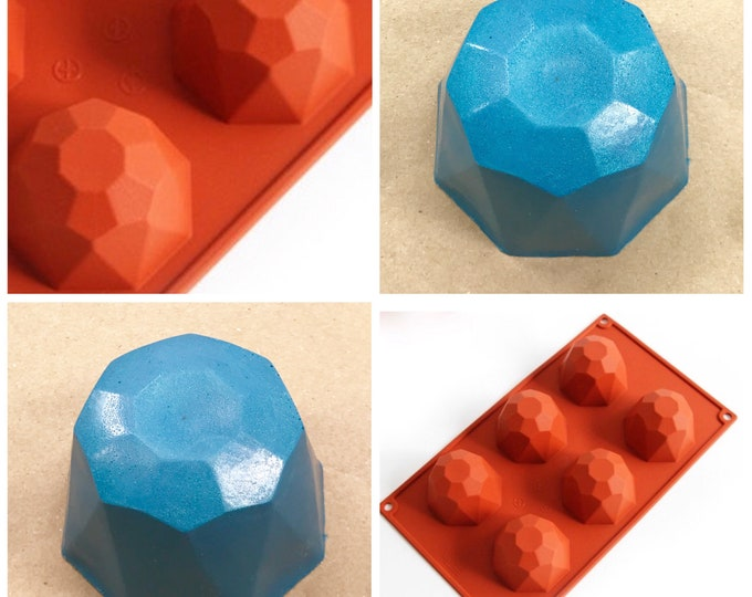GEO DOME Silicone Soap Mold, 6 Cavity, Heat Resistant, Lotion Bars, Soap, Jelly, Wax, DIY Soap, Free Usa Ship,Two Wild Hares