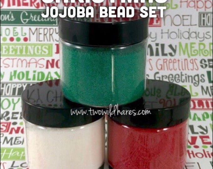 CHRISTMAS JOJOBA BEAD Set, Red, Green, White, 20/40 Exfoliant Safe Alternative to Microbeads for Bath Products