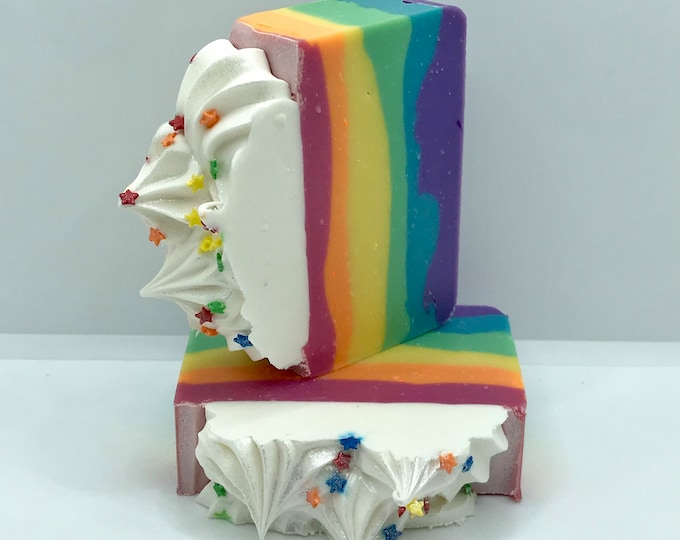 RAINBOW Handmade Soap, Intoxicatingly Fruity, Cold Process, XL Bar 5.25oz, Two Wild Hares