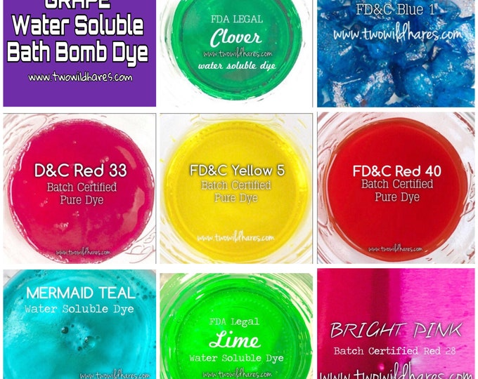 9 Color Bath Bomb Dye Set, Batch Certified, Water Soluble, Container Packaging, DIY, 1oz each color, FREE Usa Ship, Two Wild Hares