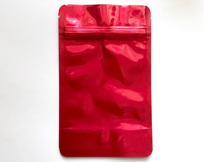 "25-4x6"" RED STAND Up Pouch/Bag, Heavy Duty Packaging, Tear Notch, Zipper Seal, Impulse Sealable, Two Wild Hares"