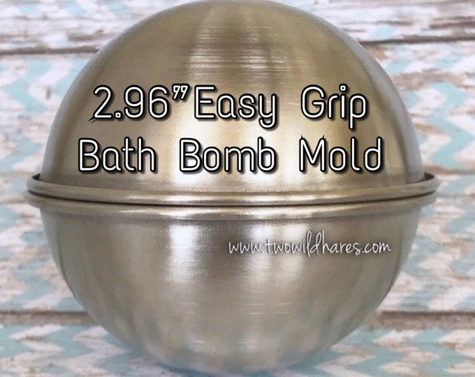 "2.96"" EASY GRIP Bath Bomb Molds, 75mm, No Slip Grip Rim, Heavy Duty Stainless Steel, Won't Dent Like Others, Two Wild Hares"