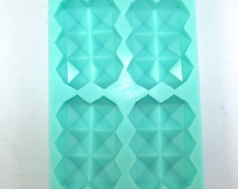 "GEOMETRIC RECTANGLE Silicone Soap Mold, Heavy Duty, 4 Cavities- 3.5""x2.5""x1"" Each, Two Wild Hares"