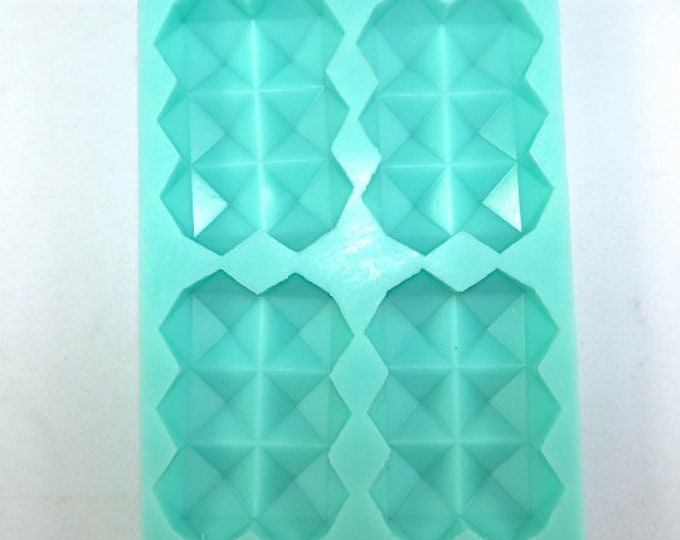 """GEOMETRIC RECTANGLE Silicone Soap Mold, Heavy Duty, 4 Cavities- 3.5""""x2.5""""x1"""" Each, Two Wild Hares"""