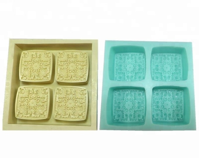 "IRISH IVY Silicone Soap Mold, Heavy Duty, 4 Cavities, 2.75""x1"", Two Wild Hares"