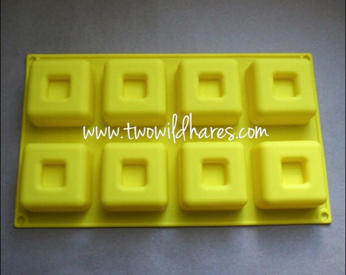 Rimmed Cube Massage Bar Silicone Mold, 8 cavity, 3 oz each, Two Wild Hares