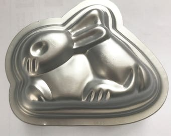 "BUNNY Bath Bomb & Baking Mold, Metal, 4"" Long, Two Wild Hares"