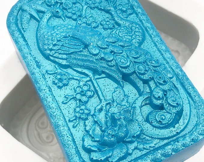 PEACOCK Silicone Soap Mold, 1 Cavity, 3.35oz (95g), Heat Resistant, Lotion Bars, Soap, Jelly, Wax, Free US Ship, Two Wild Hares