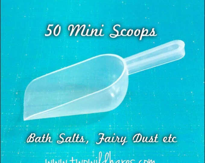 50 Mini SCOOPS, 1oz, Free US Ship, Clear Plastic, Bath Salt, Bomb Dust, Bath Teas, Bubble Salt, DIY, Two Wild Hares