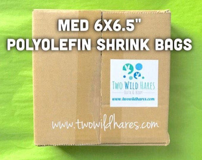 "500-Med 6x6.5"" POLYOLEFIN Shrink Bags, Free US Ship,  (Smell Through Plastic), 100g, BEST Wrap for Soap, Bath Bombs Etc,  Two Wild Hares"