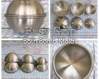 EASY GRIP Stainless Bath Bomb Molds, No Slip Grip Rim, Heavy Duty Stainless Steel, Won't Dent Like Others, 3 Popular Sizes, Two Wild Hares