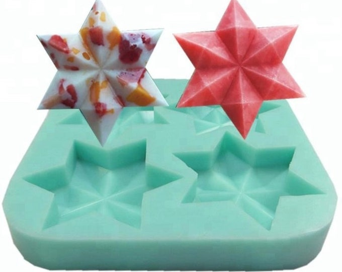 "GEOMETRIC STAR Silicone Soap Mold, Heavy Duty, 4-3oz Cavities- 3.75""x1"" Each, Star of David, Two Wild Hares"
